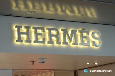 3D LED Backlit Signs With Brushed Stainless Steel Letter Shell For Hermès