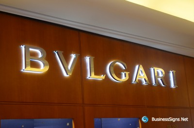 3D LED Backlit Signs With Mirror Polished Stainless Steel Letter Shell And Visible Thickness Acrylic Back Panel For Bulgari