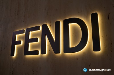 3D LED Backlit Signs With Powder Coated Stainless Steel Letter Shell And Visible Thickness Acrylic Back Panel For Fendi