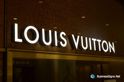 3D LED Front-lit Signs With Brushed Gold Plated Letter Shell For Louis Vuitton