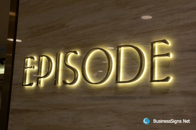 3D LED Backlit Signs With Mirror Polished Gold Plated Letter Shell And Visible Acrylic Back Panel For EPISODE