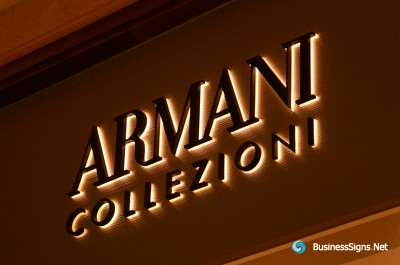 3D LED Backlit Signs With Powder Coated Stainless Steel Letter Shell And Visible Thickness Acrylic Back Panel For Armani Collezioni