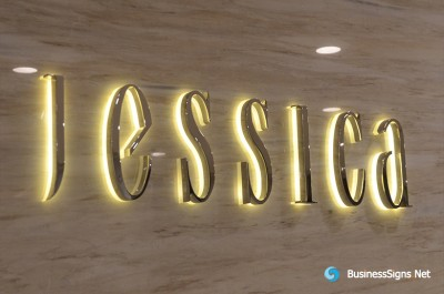 3D LED Backlit Signs With Mirror Polished Gold Plated Letter Shell And Visible Acrylic Back Panel For Jessica