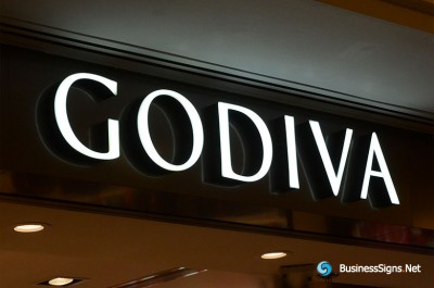 3D LED Front-lit Signs With Painted Stainless Steel Letter Shell For Godiva