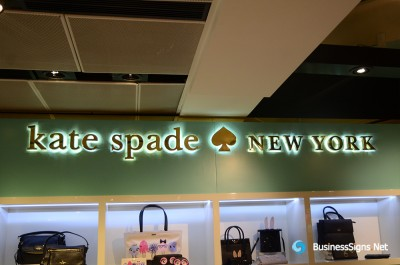 3D LED Backlit Signs With Mirror Polished Gold Plated Letter Shell For Kate Spade New York