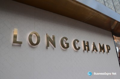 3D LED Backlit Signs With Brushed Gold Plated Letter Shell For Longchamp
