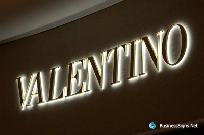 3D LED Back-lit Signs With Gold Plated Brushed Stainless Steel Letter Shell And Visible Thickness Acrylic Back Panel For Valentino