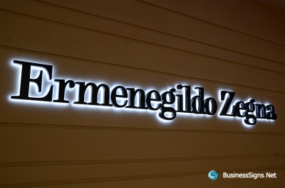 3D LED Back-lit Signs With Painted Stainless Steel Letter Shell For Ermenegildo Zegna