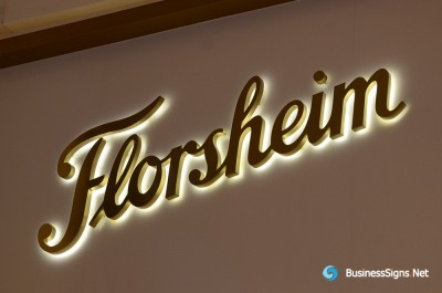 3D LED Backlit Signs With Gold Plated Brushed Stainless Steel Letter Shell For Florsheim
