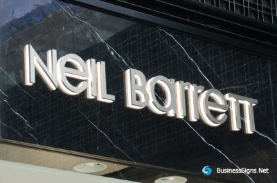 3D LED Backlit Signs With Brushed Stainless Steel Letter Shell And Visible Thickness Acrylic Back Panel For Neil Barrett