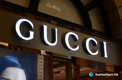 3D LED Front-lit Signs With Gold Plated Brushed Stainless Steel Letter Shell For Gucci