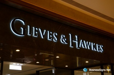 3D LED Backlit Signs With Powder Coated Stainless Steel Letter Shell And Visible Acrylic Back Panel For Gieves & Hawkes