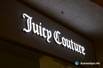 3D LED Front-lit Signs With Mirror Polished Stainless Steel Letter Shell For Juicy Couture