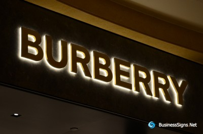 3D LED Back-lit Signs With Gold Plated Brushed Stainless Steel Letter Shell And Visible Thickness Acrylic Back Panel For Burberry