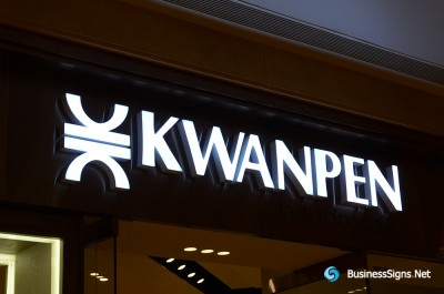 3D LED Front-lit Signs With Brushed Stainless Steel Letter Shell For KWANPEN