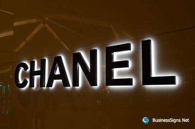 3D LED Backlit Signs With Powder Coated Stainless Steel Letter Shell And Visible Acrylic Back Panel For Chanel