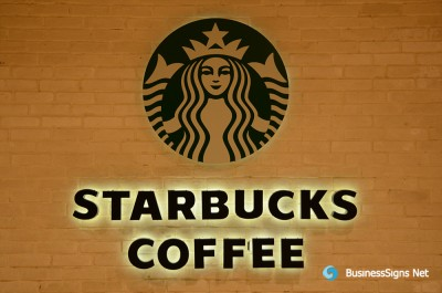 3D LED Backlit Signs With Powder Coated Stainless Steel Letter Shell For Starbucks