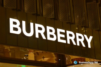 3D LED Front-lit Signs With Gold Plated Brushed Stainless Steel Letter Shell For Burberry