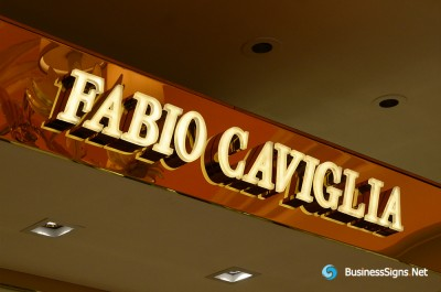 3D LED Front-lit Signs With Gold Plated Mirror Polished Stainless Steel Letter Shell And Visible Thickness Acrylic Front-panel For Fabio Caviglia