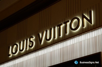3D LED Backlit Signs With Brushed Gold Plated Letter Shell And Visible Thickness Acrylic Back Panel For Louis Vuitton