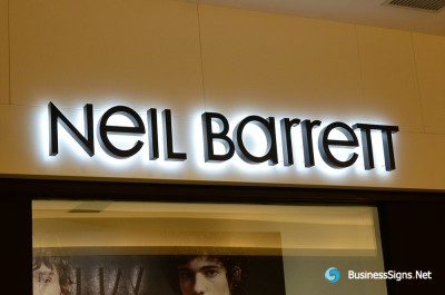 3D LED Backlit Signs With Painted Stainless Steel Letter Shell For Neil Barrett
