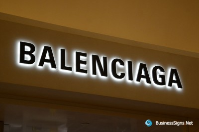 3D LED Backlit Signs With Powder Coated Stainless Steel Letter Shell And Visible Acrylic Back Panel For Balenciaga